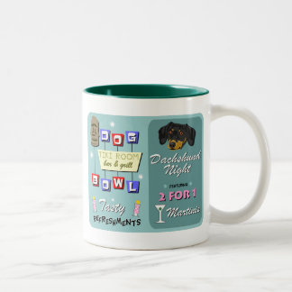Dachshund Bowling Tiki Night Two-Tone Coffee Mug