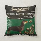 Dachshund Brand – Organic Coffee Company Throw Pillow