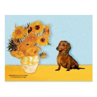 Dachshund (brown1) - Sunflowers Postcard