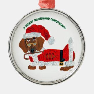Dachshund Candy Cane Santa Ornament