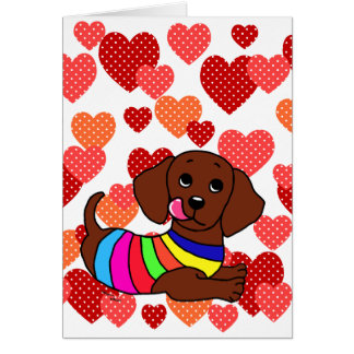 Dachshund Cartoon 1 Hearts Card