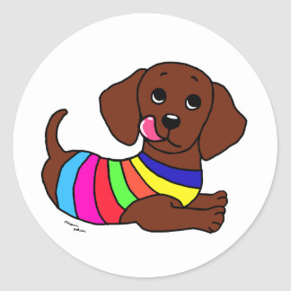 Dachshund Cartoon 1 Round Sticker