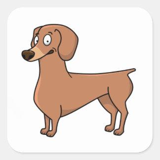 dachshund cartoon 2 square sticker
