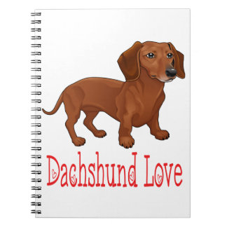 Dachshund Cartoon Puppy Dog Love Notebook