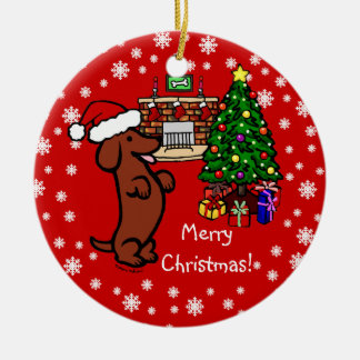 Dachshund Christmas Cartoon Ceramic Ornament