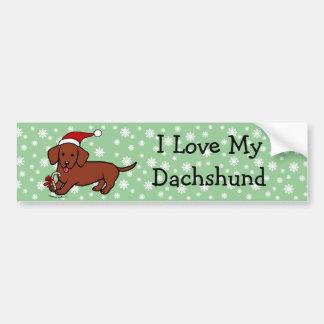 Dachshund Christmas Cartoon Snowflakes Bumper Sticker