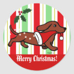 Dachshund Christmas Cartoon Snowflakes Round Sticker