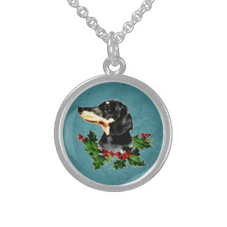 Dachshund Christmas Holly Sterling Silver Necklace
