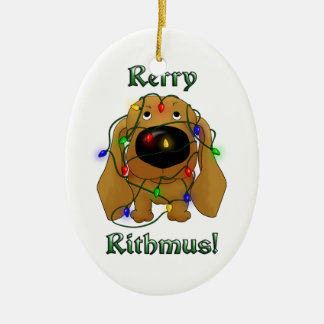 Dachshund - Christmas Lights Ceramic Ornament