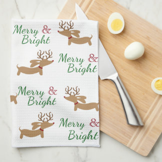 Dachshund Christmas Merry Dish Kitchen Towel