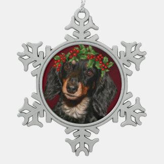 Dachshund Christmas Snowflake Pewter Christmas Ornament