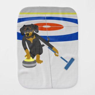 Dachshund Curling Baby Burp Cloth