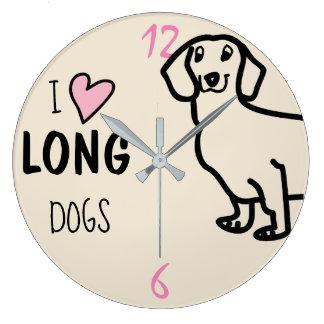 Dachshund Cute Dog Funny Wiener I Love Long Dogs Large Clock
