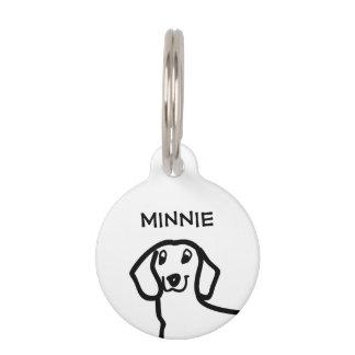 Dachshund Cute Wiener Dog Simple Sketch Custom Pet Name Tag
