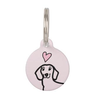 Dachshund Cute Wiener Love Dog Pink Heart Custom Pet Tag