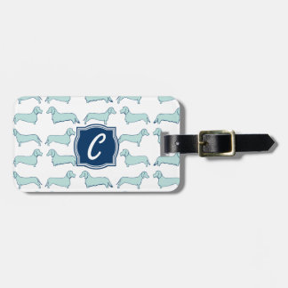 Dachshund Dash Monogram Luggage Tag