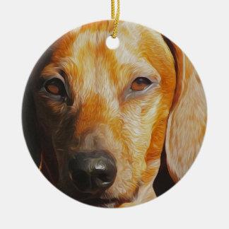 Dachshund Digital Oil Painting Closeup Ceramic Ornament