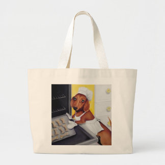 Dachshund dog biscuits large tote bag