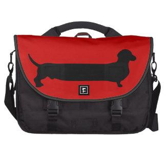Dachshund dog black silhouette funny cartoon doxie commuter bag
