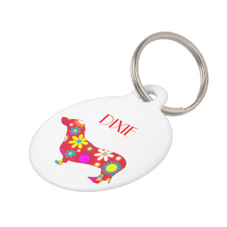Dachshund dog floral custom dog name, phone number pet tag