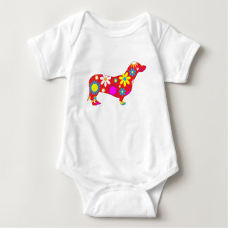 Dachshund dog funky floral colorful kids creeper