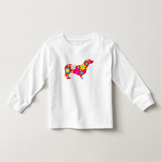 Dachshund dog funky floral colorful kids t-shirt