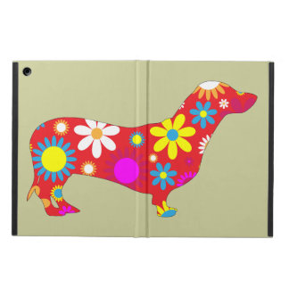 Dachshund dog funky retro floral flowers colorful case for iPad air