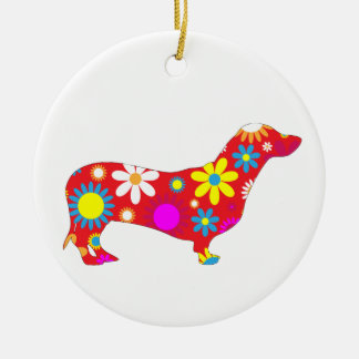 Dachshund dog funky retro floral flowers colorful ceramic ornament