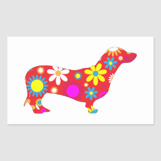 Dachshund dog funky retro floral flowers colorful sticker