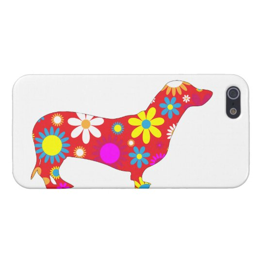 Dachshund dog funky retro floral flowers colourful iPhone 5/5S case