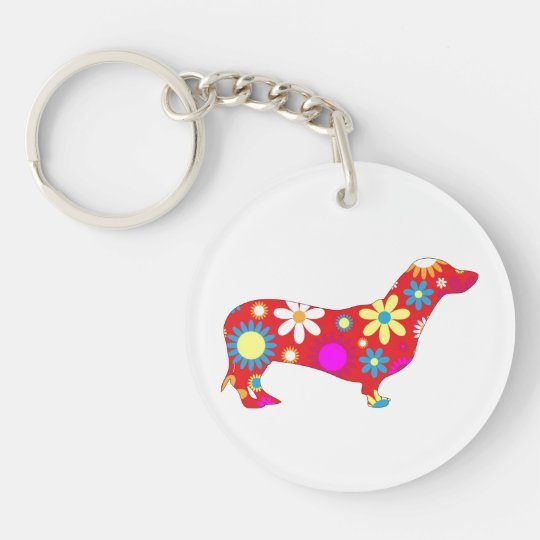 Dachshund dog funky, retro, floral, flowery, fun Single-Sided round acrylic keychain