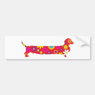 Dachshund dog funky retro floral funny cartoon bumper sticker