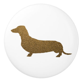 Dachshund Dog Icon (To Left) | Faux Gold Glitter Ceramic Knob