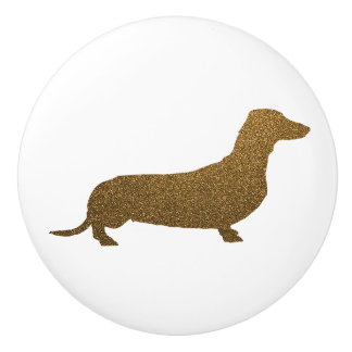 Dachshund Dog Icon (To Right) | Faux Gold Glitter Ceramic Knob