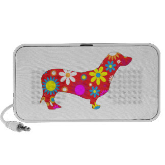 Dachshund dog retro funky floral flowers colorful travelling speaker