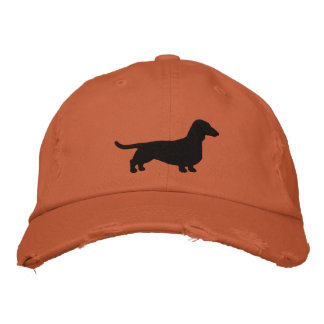 Dachshund Dog Silhouette Embroidered Baseball Cap