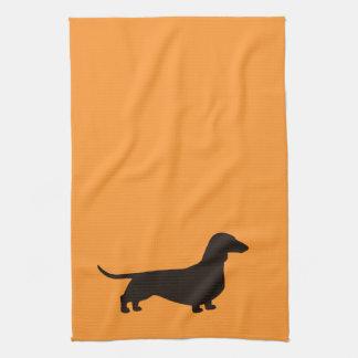 Dachshund Dog Silhouette Kitchen Towel