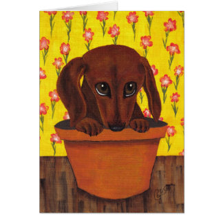 Dachshund Dog Too Cute Greeting Card