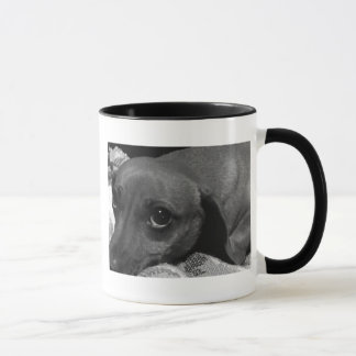 Dachshund Dog with Sad Eyes in Black and White Mug