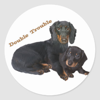 Dachshund Double Trouble Classic Round Sticker