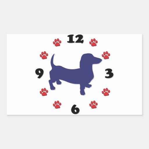 Dachshund Doxie Clock Rectangular Stickers