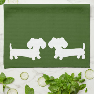 Dachshund Doxie Kitchen Green Towels