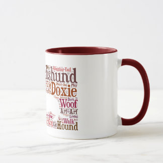 Dachshund Doxie Word Cloud Coffee Mug in Red Brown