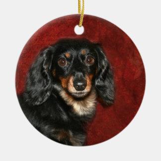 Dachshund face ceramic ornament