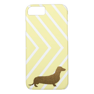 Dachshund Faux Glitter | Dog Icon Yellow Stripe iPhone 7 Case
