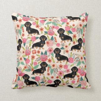 Dachshund florals print pillow cute dog gift
