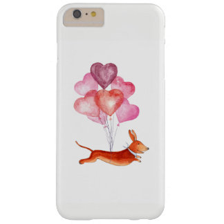 Dachshund flying with balloons watercolor barely there iPhone 6 plus case