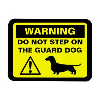 Dachshund Funny Guard Dog Warning Rectangular Photo Magnet