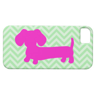 Dachshund + Green Chevron Case For The iPhone 5