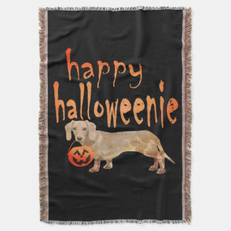 Dachshund Halloween Throw Blanket Halloweenie